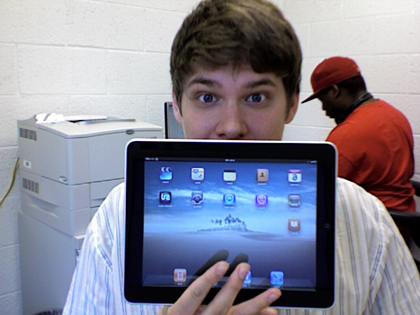 NC State student Jason Smith takes the new iPad for a test run.