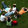 NC State students studying on the lawn