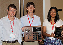 Food science students Edward Osika, Matthew Hudson and Daniela Bautista won the Taste of RMC Product Development Competition at the American Meat Science Association Reciprocal Meat Conference at Texas Tech University in Lubbock, Texas.
