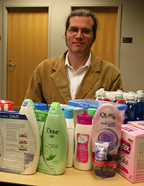 Matt Shipman with toiletries collected for Interact