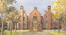 A watercolor rendering of the exterior of the new chancellor's residence