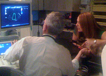 Dr. Bruce Keene examines an image of Kovu's heart with his owner, Leanna Ranney.