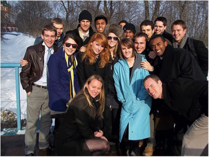 Student body presidents gather before leaving Russia.