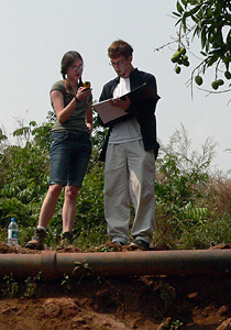 Engineering students Megan Smithmyer and Ross Varin work in Sierra Leone