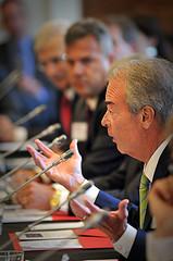 Duke Energy CEO Jim Rogers addresses the meeting.