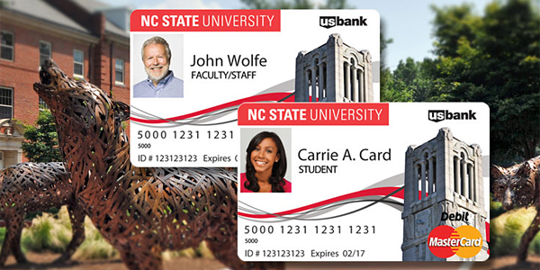 Two Debit Mastercards over an image of Wolf Plaza.