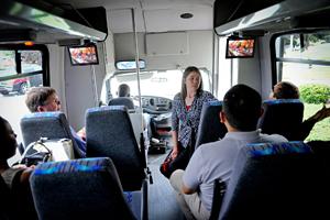 Interior of bus.