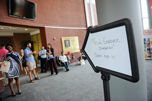 New employees mingle in Joyner Center.