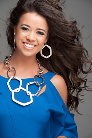 Miss North Carolina in a bright blue dress.