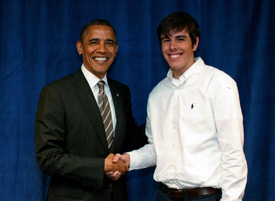 Parker shaking hands with President  Obama.