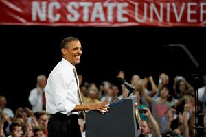 President Barack Obama addresses the crowd.