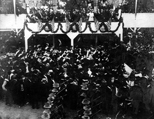 President Roosevelt on stage.