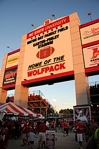 Sun sets on another NC State home football game. PHOTO BY ROGER WINSTEAD
