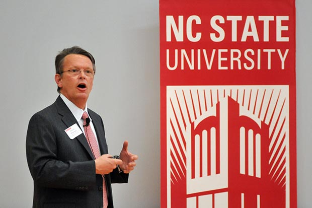 "Stewart Witzeman, director of the Eastman Innovation Center at NC State, speaks during the ""Transforming Economies: The Role of University Innovation in Economic Growth"" summit in February 2013."