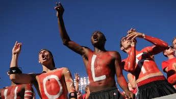 NC State students get pumped up for the Pack before the WCU football game.