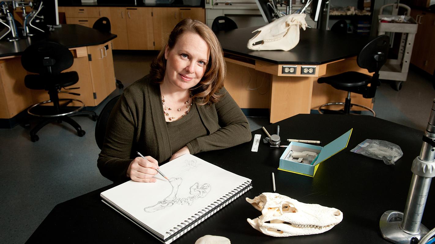 Biology professor Jennifer Landin in her NC State office.