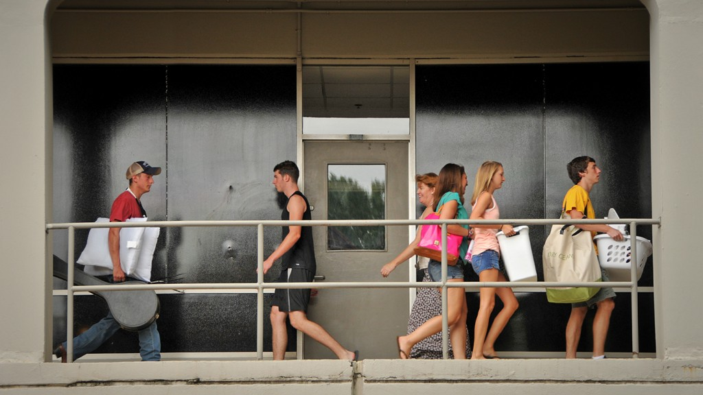 Students moving in at NC State.