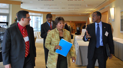 From left to right: Justin Schwartz, Rep. Eddie Bernice Johnson (ranking member of the House Science Committee), and Andrew Jones of Florida A&M University at the diversity workshop.