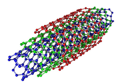Image of a multi-walled carbon nanotube. Image credit: Eric Wieser, via WikiMedia Commons.