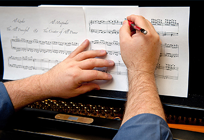 J. Mark Scearce at work on a composition.