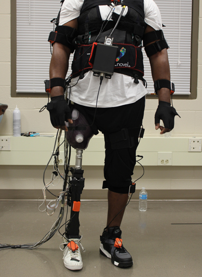 Huang's work focuses on technology that translates electrical signals in human muscle into signals that control powered prosthetic limbs. Photo credit: Helen Huang. Click to enlarge.