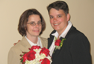 Debbie Carraway, left, and Kara Stinnett at their wedding on Aug. 8, 2008.