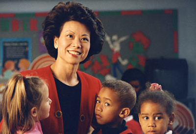Chao visiting with children at a United Way funded childcare center.