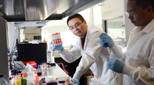 "Dr. Zhen Gu of NC State holds up a red solution from his ""nanodaisies"" cancer research."