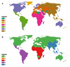 Maps reflect vectored human diseases (top) and non-vectored human diseases. Click for larger image. Image courtesy of Michael Just.