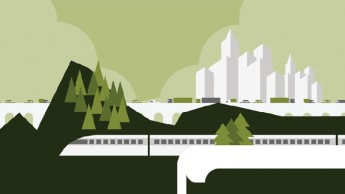 Stylized illustration of a green cityscape powered by smart energy.