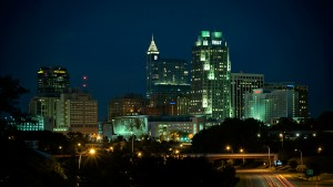 The downtown Raleigh skyline by night.