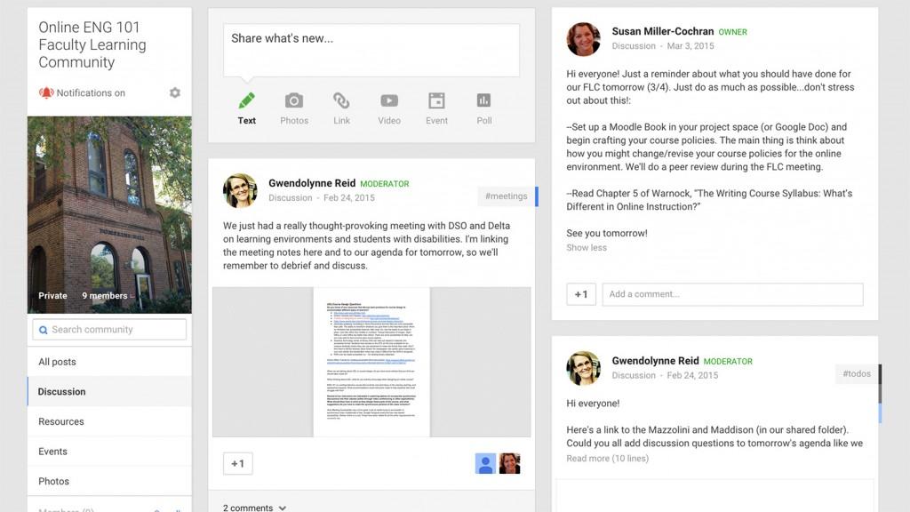 ENG 101 Google Plus Screenshot