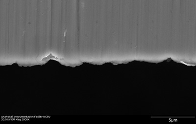 "The micrometer-scale fissures on the edge of a surgical blade act as a ""microcomb"" to align carbon nanotubes. Image credit: Yuntian Zhu. Click to enlarge."
