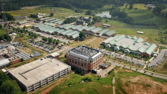 An aerial shot of NC State's College of Veterinary Medicine, with the Terry Center in the foreground.