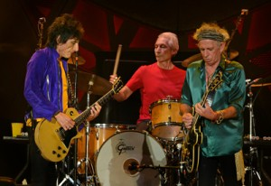 Rolling Stones guitarists Ron Wood, left, and Keith Richards and drummer Charlie Watts. (Photo by Roger Winstead)