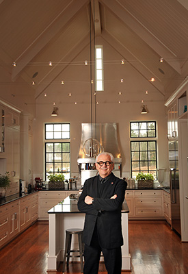 Dean Marvin Malecha in the award-winning kitchen of The Point, the new chancellor's residence on Centennial Campus.