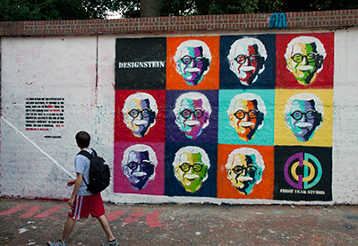 Malecha's iconic image, in the style of Andy Warhol, graces the Free Expression Tunnel in 2010.