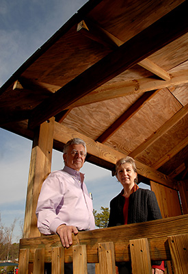 Robin Moore and Nilda Cosco in a treehouse at Bright Horizons Child Care in Cary. Photo by Roger Winstead.