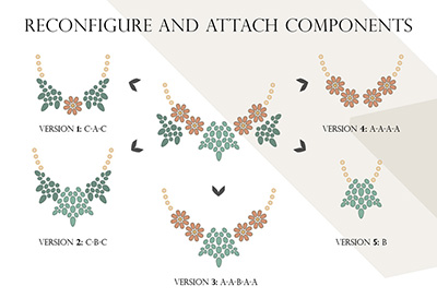 Illustration of how BloomUnique's concept can create multiple necklaces from identical components. Click for a full poster on the concept. Image credit: BloomUnique.