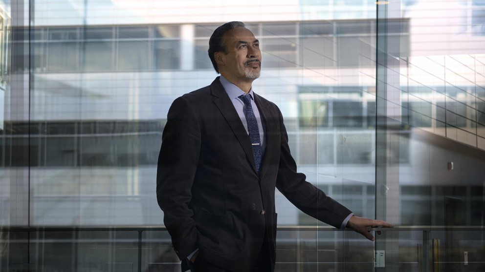 Durham architect Phil Freelon '75 at the Durham County Human Services Building, which he designed.