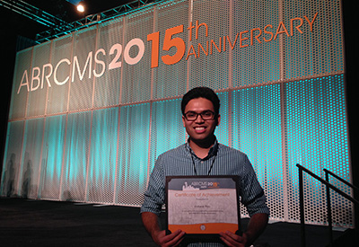 Vishwas Rao wins an outstanding poster award at the 2015 Annual Biomedical Research Conference for Minority Students in Seattle.
