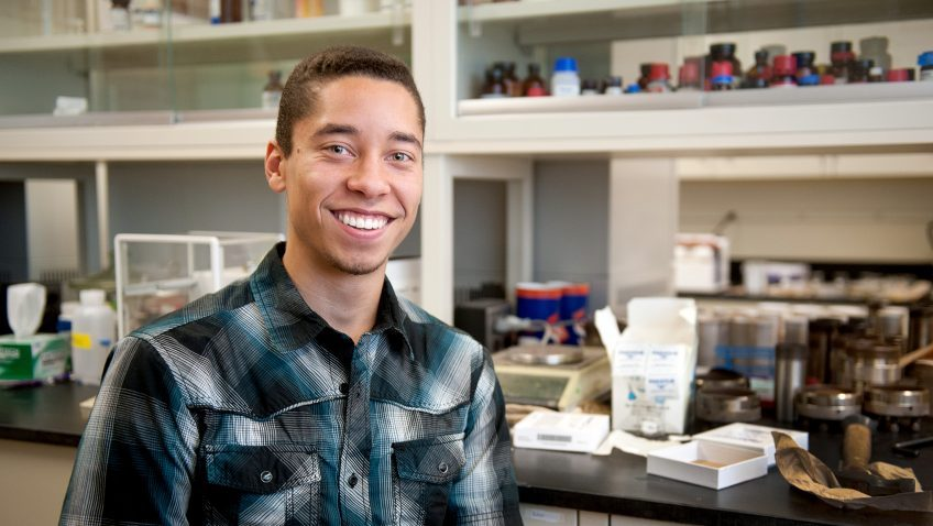 Graduating NCState senior Kyle Virgil in a lab on campus.