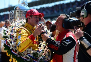 Punch interviews winner Ryan Hunter-Reay at the 2014 Indy 500. Photos courtesy ESPN Images.