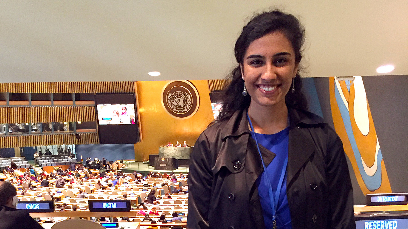NCState graduate Maya Krishnan pictured at the United Nations.