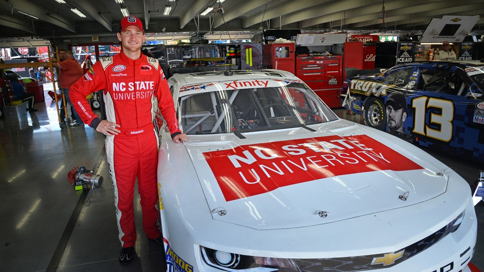 NC State senior and NASCAR driver Harrison Rhodes and his NC State Number 97 Camaro.
