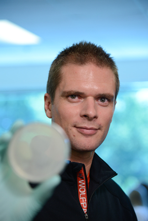Dr. Rodolphe Barrangou uses the CRISPR system to battle antibiotic-resistant bacteria. Photo by Marc Hall