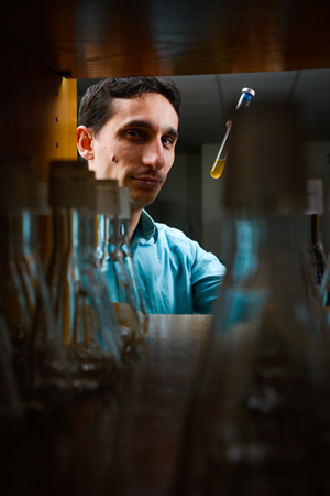 Chase Beisel works on CRISPR systems to battle antibiotic-resistant bacteria. Photo by March Hall.