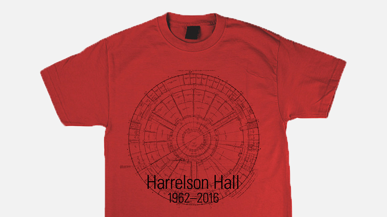 A red t-shirt featuring the plans for Harrelson.