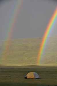 Double rainbow at research camp, Hangay Mountains, Mongolia​.