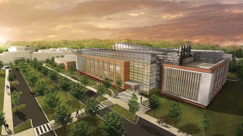 A render of the Plant Sciences Initiative Research Complex on Centennial Campus.